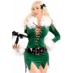 Elf Dress with Deluxe Swan Feathers green white