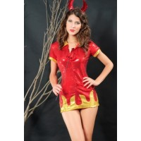Hot Devil Babe Sexy Costume red gold