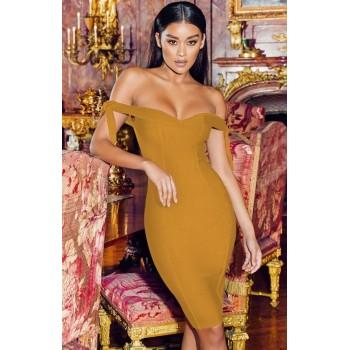 Runway Dress 2020 Bandage Dresses For Women Off Shoulder Bow Mini Bodycon Sleeveless Backless V-Neck Lace Up Sheath Elegant