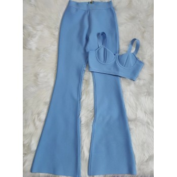 Bandage Set 2 Pieces Strap Sleeveless Bustiers And Long Bell-Bottoms Trousers Sexy Celebrity Party Sheath Vestidos Dobanmbd