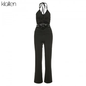 KLALIEN Fashion Sexy Camisole and Trousers 2 Piece Set Summer Casual Simple Slim Street Office Lady Solid Two Piece Set Women
