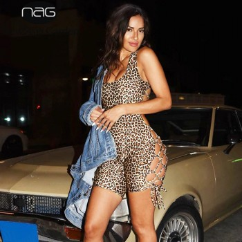 Backless Bodycon Romper Women Leopard Print Cut out Square Neck Sleeveless Lace up Sexy Summer Casual Overall Shorts