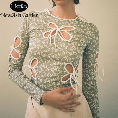 Floral Print Blouse Cut out Long Sleeve Top Tie up Crewneck Bodycon Ladises Tops Women Spring Fashion Casual Streetwear