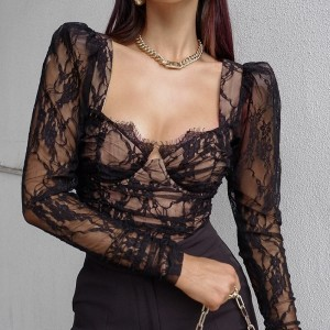 Lace Blouse Women V Neck Patchwork Slim Fit Cut out See Through Long Sleeve Crop Top Spring Fashion Black Sexy Shirt