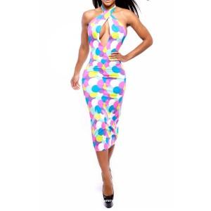 Alluring Halter Sleeveless Printed Backless Criss-Cross Dress For Women