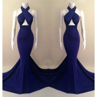 Alluring Halter Sleeveless Solid Color Criss-Cross Dress For Women blue