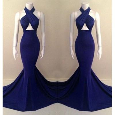 Alluring Halter Sleeveless Solid Color Criss-Cross Dress For Women blue