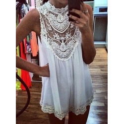 Alluring Hollow Out Design Sleeveless Stand-Up Collar Lace Splicing Dress For Women white