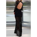 Alluring Plunging Neck Long Sleeve Lace High-Furcal Backless Dress For Women black white