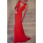 Alluring Plunging Neck Sleeveless Solid Color Slimming Dress For Women red blue black
