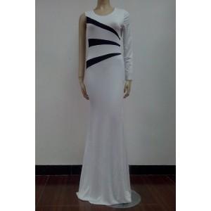 Alluring Round Collar Color Block Irregular Long Sleeve Dress For Women white