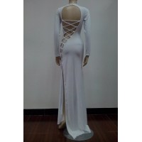 Alluring Round Collar Long Sleeve Solid Color Backless Dress For Women white