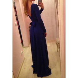 Alluring Round Neck Long Sleeve Solid Color Lace-Up Backless Dress For Women blue green red