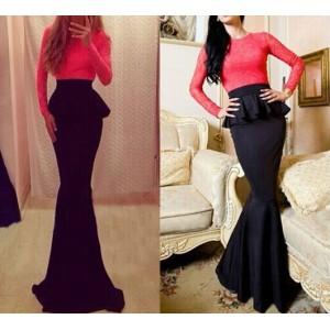 Alluring Round Neck Long Sleeve Spliced Flounced Dress For Women red black