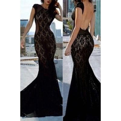 Alluring Round Neck Short Sleeve Backless Spliced Dress For Women black