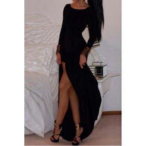 Alluring Scoop Neck Long Sleeve Solid Color High-Furcal Dress For Women black