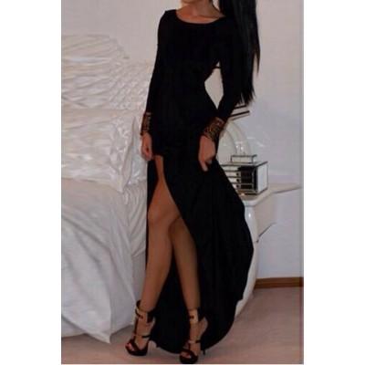 Alluring Scoop Neck Long Sleeve Solid Color High-Furcal Dress For Women black