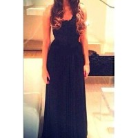 Alluring Scoop Neck Sleeveless Backless Solid Color Dress For Women black