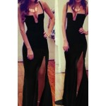 Alluring Spaghetti Strap Sleeveless Solid Color Furcal Dress For Women black