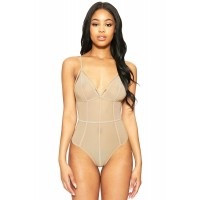 Bare Strappy Caged Triangular Bodysuit Black