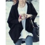 Batwing Sleeves Solid Color Asymmetric Stylish Cardigan For Women black coffee