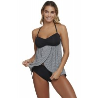 Black Bandeau Top Plaid Flyaway Tankini Swimsuit