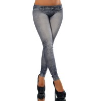 Casual Bodycon Mid-Waisted Tattoo Graffiti Print Jean Leggings For Women black