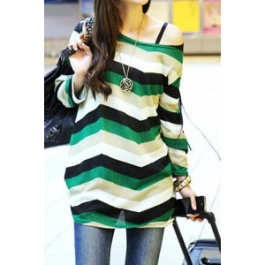 Casual Long Sleeve Scoop Neck Color Block Striped T-Shirt For Women green