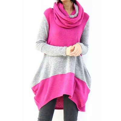 Casual Round Neck Long Sleeve Color Block Asymmetrical Sweater For Women plum black