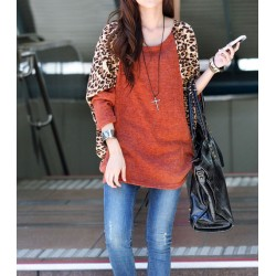 Casual Scoop Neck Color Splicing Leopard Print Long Sleeves Loose-Fitting Women's Sweater red