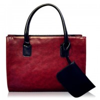Casual Style Women's Tote Bag With PU Leather and Solid Color Design red brown black