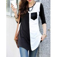 Casual Women's Scoop Neck Color Block 3/4 Sleeve T-Shirt black white
