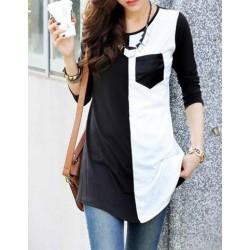 Casual Women's Scoop Neck Color Block 3/4 Sleeve T-Shirt black white