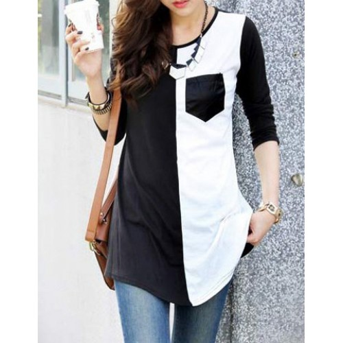 Casual Women s Scoop Neck Color Block 3/4 Sleeve T-Shirt black ...
