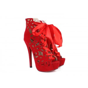 Club Women's Stiletto Heel Boots With Openwork and Lace-Up Design red black