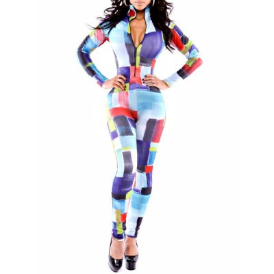 Colorful Block Splicing Skinny Sexy Plunging Neck Long Sleeve Women's Jumpsuits