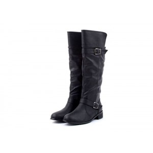Concise Women's Boots With Buckle and Low Heel Design brown black