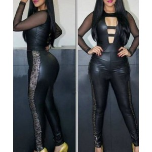 Cut Out Print Splicing Laux Leather Sexy Round Collar Long Sleeve Women's Jumpsuits black