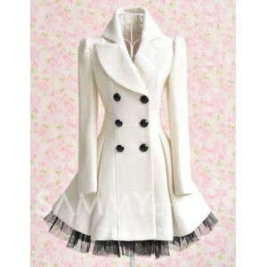 Double-breasted Beam Waist Voile Stitching Plicated Ruffles Long Edition Worsted Color Matching Coat For Women white
