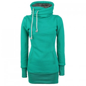 Draw String Pockets Beam Waist Korean Style Cotton Solid Color Hoodie For Women gray black blue