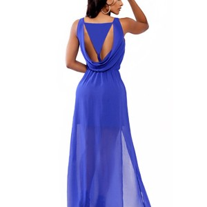 Elegant Scoop Neck Sleeveless Spliced Solid Color Dress For Women blue