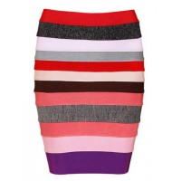 Elegant Women's Color Block Striped Zippered Bodycon Bandage Skirt