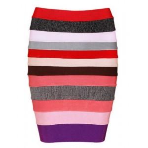 Elegant Women's Color Block Striped Zippered Bodycon Bandage Skirt