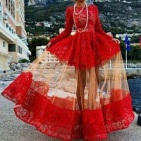 Elegant Women's Jewel Neck Long Sleeve Floor-Length Lace Dress red