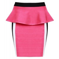 Elegant Women's Zippered Ruffled Bodycon Bandage Skirt pink