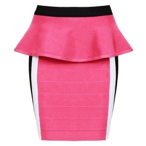 Elegant Women's Zippered Ruffled Bodycon Bandage Skirt pink
