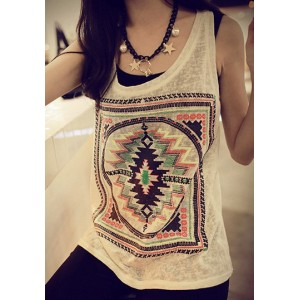 Ethnic Women's Scoop Neck Loose-Fitting Geometric Top white