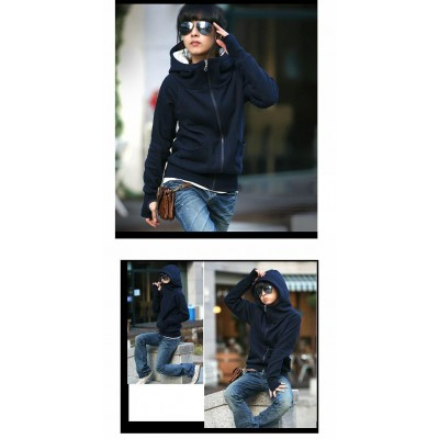 Fashion and Warm Front Zipper Long Sleeves Hooded Jacket For Women blue green