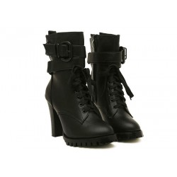 Fashion Style Women's Short Boots With Chunky Heel and Buckle Design black brown
