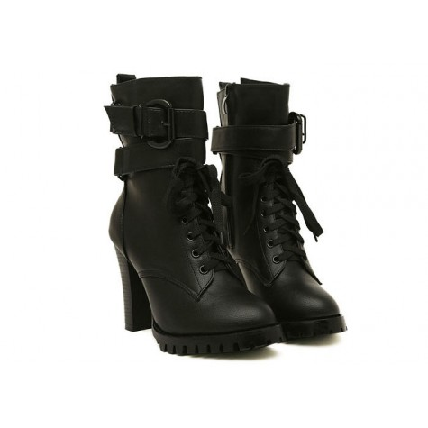 185e35a4cfd99 Zoom. Fashion Style Women's Short Boots With Chunky Heel and Buckle Design  black brown
